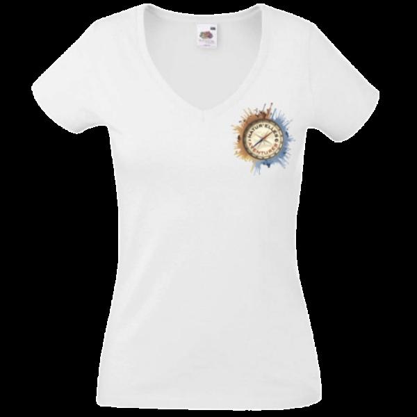 T shirt col V blanc